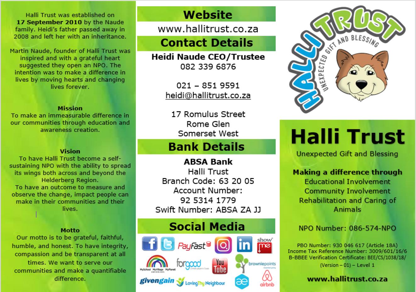 Halli Trust Information Pamplet 1