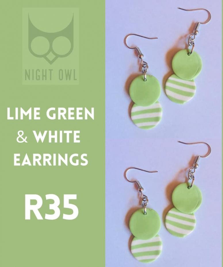 Lime Green & White Earirngs