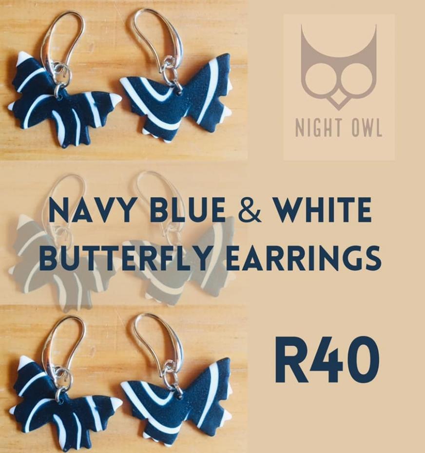 Navy Blue & White Butterfly Earrings