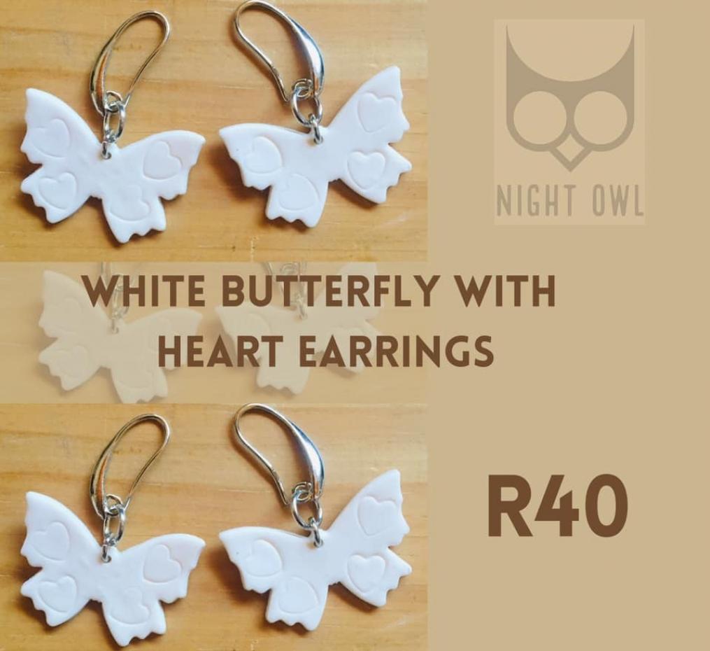 White Butterfly with Heart Earrings