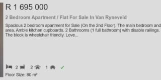 2 Bedroom Apartment  Flat for sale in Van Ryneveld