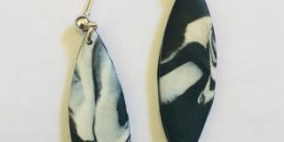Blaxk & White Hanging Stud Earrings
